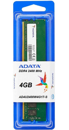 Imagem 1 de 2 de Memória 4gb Adata Ddr4 2400mhz Desktop Pc Ad4u2400w4g17-s