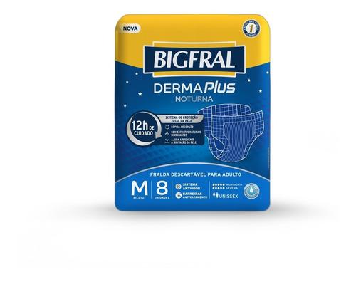 Imagem 1 de 5 de Fralda Bigfral Derma Plus Noturna Tamanho M - 8 Unidades