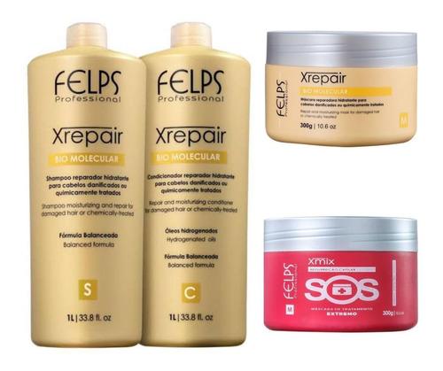 Felps Kit Xrepair Bio Molecular Sh Cond Máscara + Másc Sos
