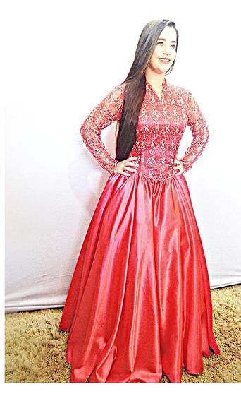 Vestido De Prenda Gaúcho Rosa Escuro