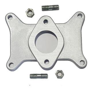 Base Adaptadora Carburador Holley-solex De 2 Bocas A 1 .incluye Juntas