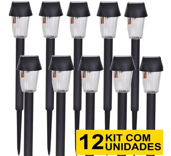 12 Luminária Solar Jardim Ecoforce Balizador Pvc Led Branco