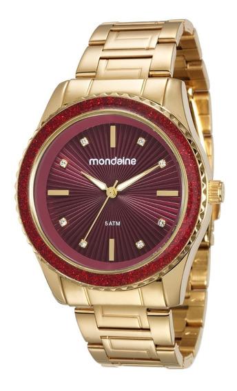 Relógio Feminino Dourado E Vermelho Mondaine Original