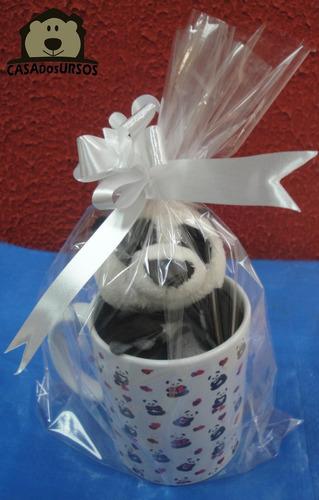 Imagem 1 de 8 de Caneca Cute Porcelana + Urso Panda Presente Namorado Amor