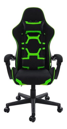 Cadeira de escritório Pelegrin 3018 gamer ergonômica  preta e verde con estofado do tecido