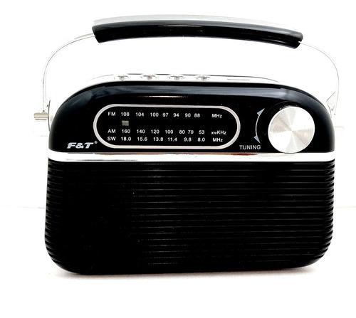 Imagen 1 de 8 de Radio Vintage Recargable Am Fm Bluetooth Usb Tf F&t Ft-951bt