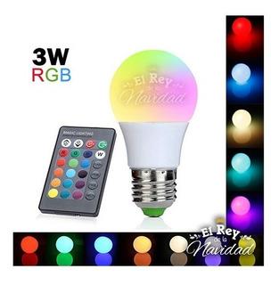 Lampara Luz Led Rgb 3w E27 Control Remoto Foco 16 Colores