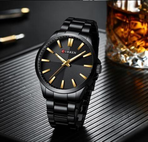 Relógio Masculino Curren Preto Modelo 8322 Moderno Novo Barato De Pulso Casual Garantia Resistente Luxo Original Social