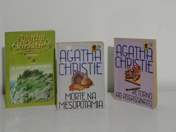 Agatha Christie Lote 3 Livros Em Edições Raras Antigas