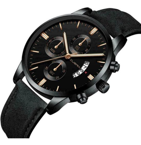 Relógio Pulso Masculino Aço Inoxidável Quartz Pulseira Couro