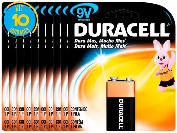 Bateria Alcalina Duracell 9v Original Kit ( 10 Unidades )