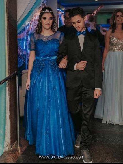 Vestido 15 Anos Cinderela Azul Royal Manequim 36
