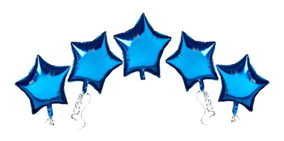 5 Estrellas Metalizadas Azul - Celeste De 5 Pulgadas 12 Cm
