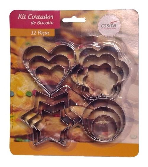 Cortador P/ Biscoito 12 Peças Em Aço Inox 4 Desenhos Diferen
