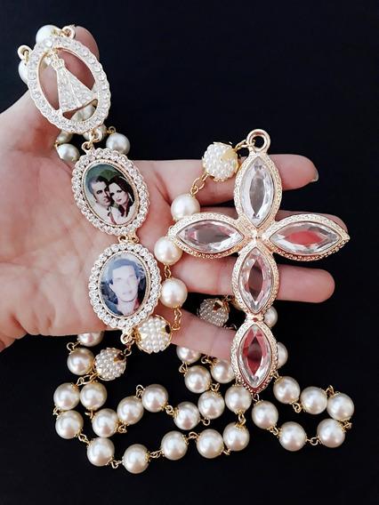 Terço De Noiva, Dourado, Com Dois Relicários Personalizados, Cruz 9cm, Nossa Senhora Aparecida De 4cm