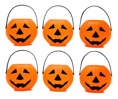 Imagem 1 de 1 de Kit Decoração Halloween Balde Cesto Abobora C/ 3 Peças (190)