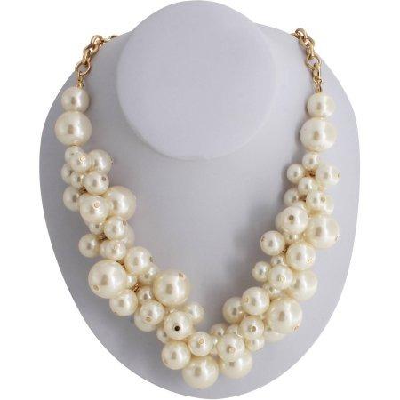 Dorado Del Collar De La Perla De La Chuchería De 20