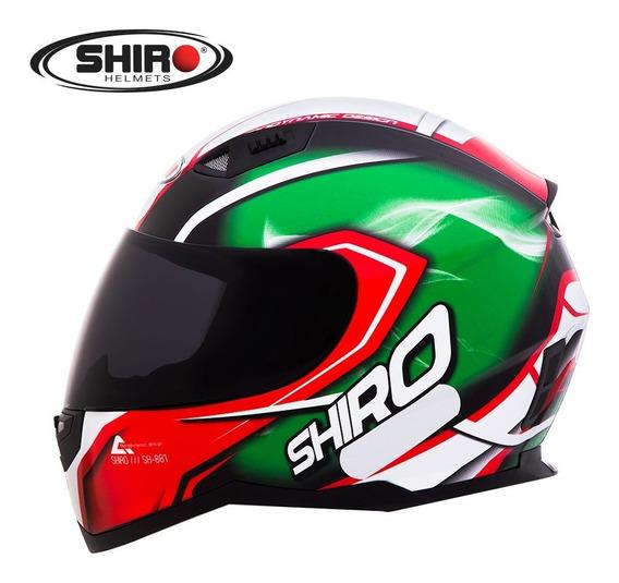 Capacete Fechado Moto Shiro-881 Motegi Verde / Vermelho