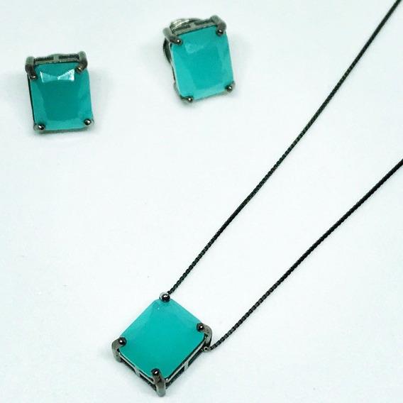 Conjunto Prata 925 Quadradinho Cor Azul Tiffy