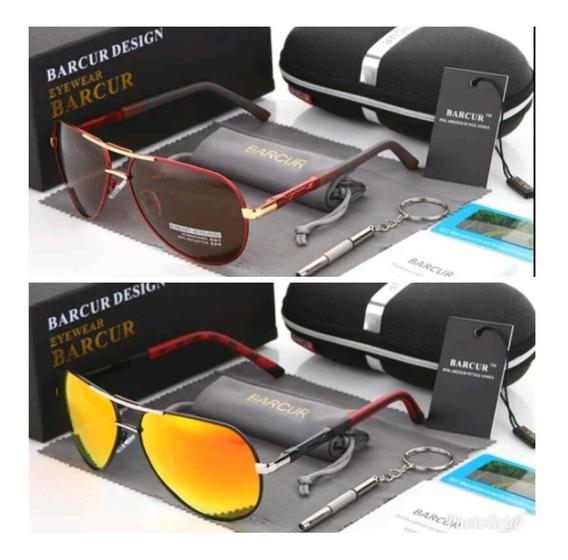 Óculos De Sol Barcur Aviador Polarizado Original + Brinde