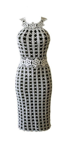 Vestido Tejido A Crochet Semi Largo Al Cuerpo Con Breteles
