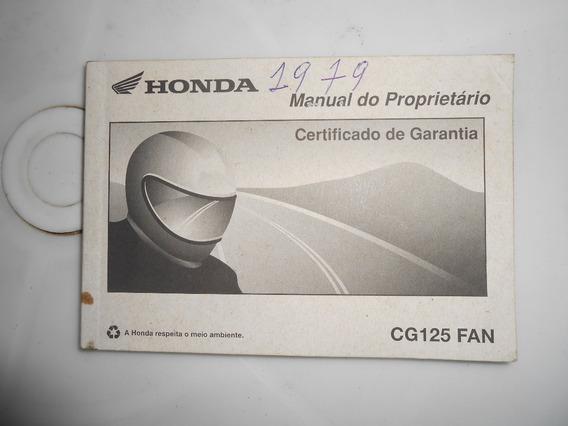 Manual Proprietário Moto Honda Cg 125 Fan Ano 1979