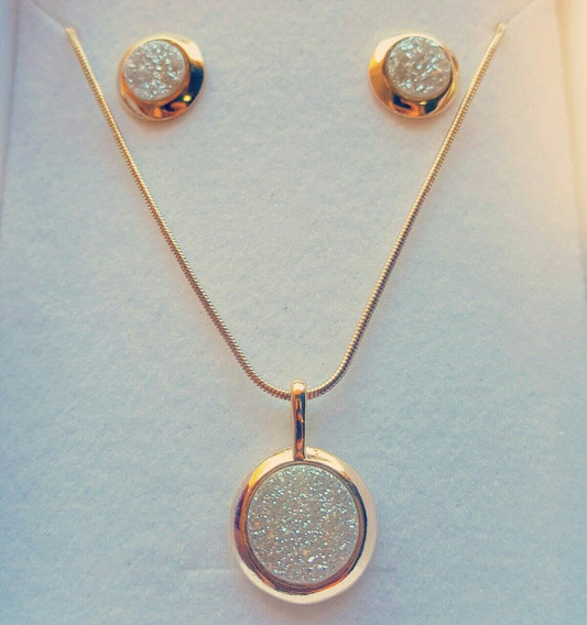 Conjunto Em Pedra Drusa Metalizada Banhado Ouro 18k