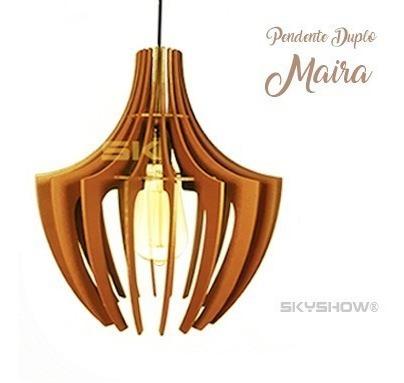 Pendente Maira Lustre Ana Maria 31cm Madeira - Vintage Retro
