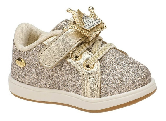 Tênis Bebê Infantil Mini Gloss Dourado C/ Gliter Klin 21213