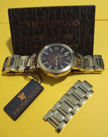 Relógio Victor Hugo, Vh10138 C/ Caixa, Elos, Certificado.