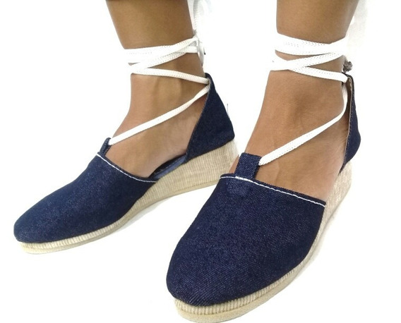 Sandalia De Plataforma Tela Jeans Para Damas Cuña Alpargata
