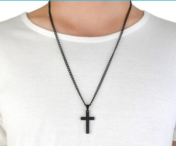 Corrente Com Crucifixo Cruz Preta, Prata, Diversas, Pingente