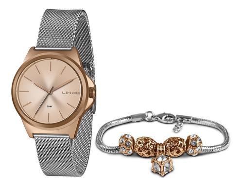 Relógio Lince Orient Rose Original Lrt4650+pulseira Berloque