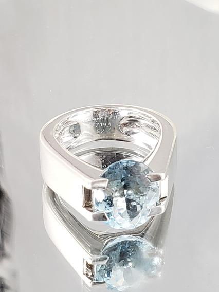 Cartier Anel De Ouro Branco Com Topázio Azul E Diamantes