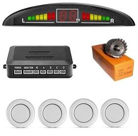 Kit Sensor Re Estacionamento Led Preto Prata Branco