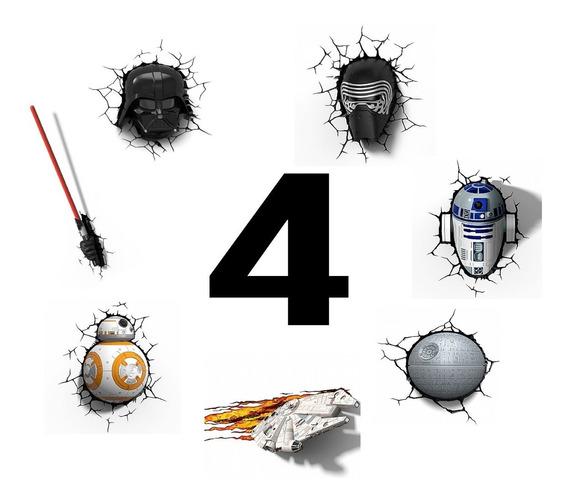 Kit 4 Luminárias Star Wars 3d - Darth, Kylo, Bb8 E Muito +