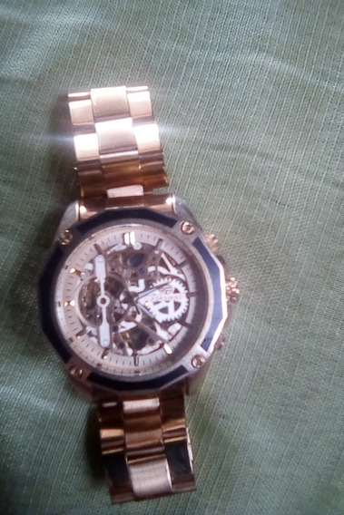 Relógio Masculino Luxo Inox Automático Esqueletizado F1030