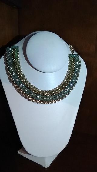 Collar Gargantilla Dorado Con Verde
