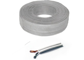 Cable Bocina 2 X 24 Awg, Cobre, Od: 1.6 X 3.2, Pvc Blanco.