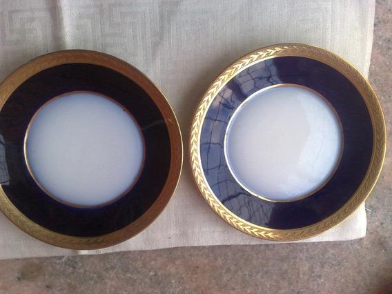 Plato Limige Azul Cobalto Y Oro Deterioros Valor Unitario