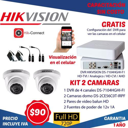 Imagen 1 de 5 de Camaras De Seguridad Hikvision Kit 2 Camaras Hd Con Dvr Cctv