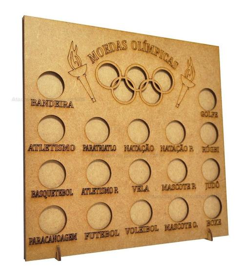 3 Quadro Coleção Moedas Olimpíadas 23,5x4x24,5 Mdf Madeira