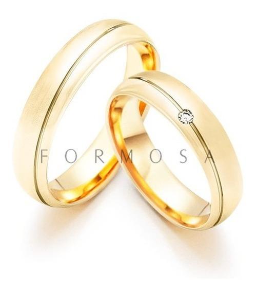 Alianças Prata 950 Banhadas Ouro 18k Pedra E Friso Diagonal