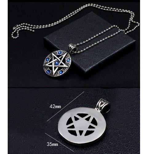 Colar Medalao Pentagrama Pedra Azul