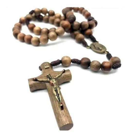 Terço Chagas De Cristo No Cordão Em Madeira Imbuia