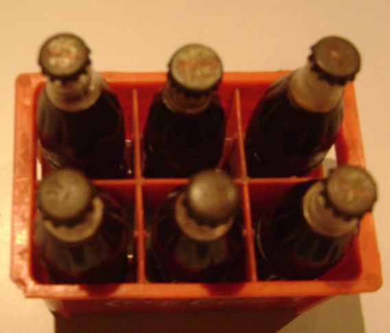 Coca Cola Coleccion Antiguo Cajon Y 6 Botellas Miniatura