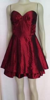 Vestido De Festa Em Tafeta Vermelho Escuro Tomara Que Caia!