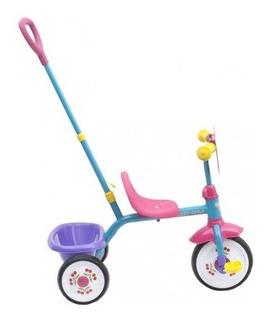Triciclo Guía Para Niña Azul Celeste/rosado Triciclo Tk777