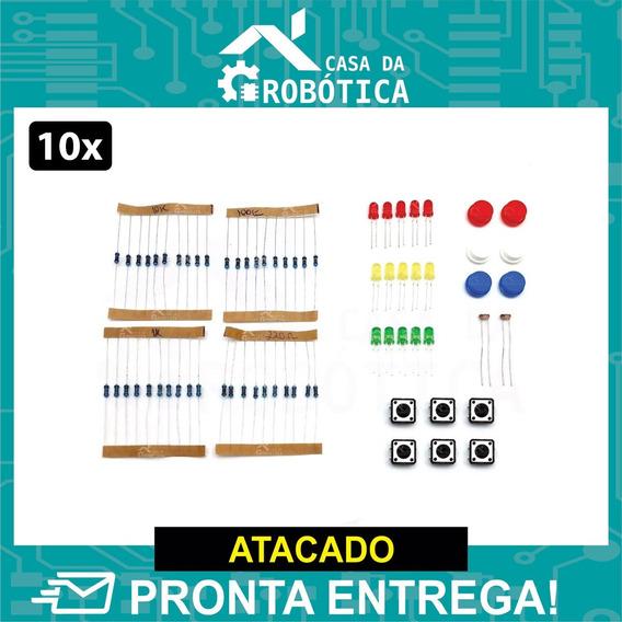 10x Kit Eletrônica: Resistor 220 1k 10k 100k Botões Led Ldr