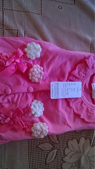 Jaqueta Rosa Com Flores Bordadas Tamanho 2